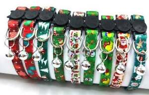 (CX024) Christmas Pattern Cat Collar Safety Release Bell & With or Without Charm