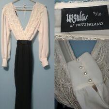 Ursula of Switzerland Vintage Ivory Lace Wedding Evening Gown Pantsuit M 8 Belt