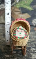 Vtg 1981 Hallmark Baby's First Christmas Ornament Carriage Wicker Buggy DL