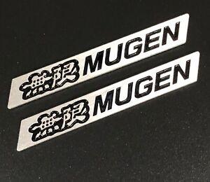 3D MUGEN Car Trunk Spoiler Lip Emblem Badge Sticker Decal Alumnium Black x2
