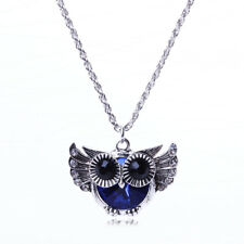 Silver Owl Necklace Women's Blue &