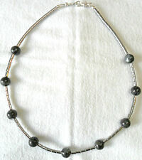 "21"" necklace, plated Hematite + 12mm Larvakite round beads"