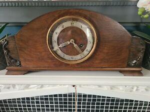 Large Vintage Wooden Mantel Clock Art Deco Style Chiming with Pendulum & Key