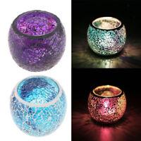 2- set Moroccan Mosaic Glass Votive Candle Tealight Candelabra Candlestick D