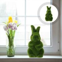 Easter Moss Bunny Figurine Flocked Rabbit Statue Festival Yard 18.8*11cm X8Y0
