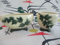 TWO-PIECE LOT MID-CENTURY MODERN PLANTERS ROYAL COPLEY IVY MOTIF Black Green
