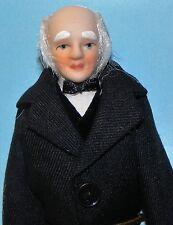 Dollhouse Miniature Doll Grandfather Grandpa Man Black Jacket 1:12 Scale