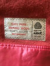 More details for 2 x vintage pink satin edged 100% merino wool blankets 90x74 ins