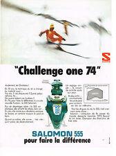 """PUBLICITE  1973   SALOMON 555   FIXATIONS DE SKIS  """" CHALLENGE ONE 74 """""""