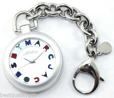 NEW-MARC JACOBS SILVER ALUMINUM KEY CHAIN+MULTI-COLOR LOGO DIAL WATCH-MBM7500
