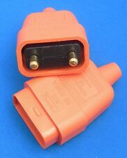 2 PIN 10 AMP ORANGE RUBBER POWER CABLE LEAD PLUG CONNECTOR REPAIR JOINER