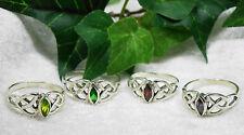 Keltischer Knoten Triskele 925 Silber Ring mit Zirkonia versch. Farben Kelten