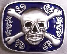 Pewter Belt Buckle Pirate Jolly Roger Skull and Crossbones NEW blue