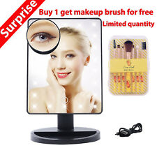 Makeup Mirror USB Lighted Vanity Mirror with 22 LED lights & Touch Screen Dim Up