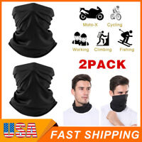 2Pcs Black Multi-use Tube Scarf Bandana Head Face Mask Neck Gaiter Head Wear