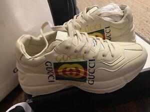 GUCCI Off-White Box Logo Ryhton Sneakers Size 8.5