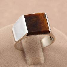 Minimalist ! Tiger Eye 925 Sterling Silver Men's Knight Ring Turkish Handmade