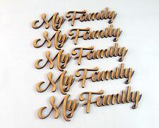 My Family Word Cutout 5 pack MDF Laser Cut Wooden Craft Blank Family Tree