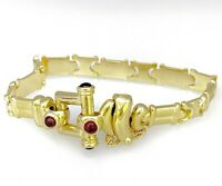 Link Bracelet Bangle with Ruby and Onyx 14k Solid Yellow Gold.