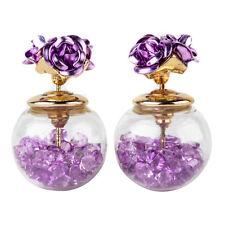 Crystal Ball Ear Stud Earrings Gift Korean Fashion Women's Double Sides Rose