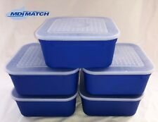 MDI Match 2.2 Pint Fishing Blue Maggot Bait Boxes + Lids Pack of 5