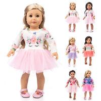 UK Cute  Doll Dress Yarn Doll Clothes 18 Inch for American Girl Accessory