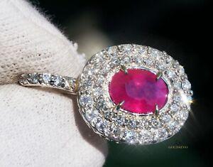 Ruby Pendant Diamond Gold 14K Natural NO HEAT 3.24CTW GIA Certified RETAIL$12400
