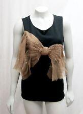 Koi Suwannagate M Medium Cashmere Top Black Bow Silk Beige Hand Sculpted Knit