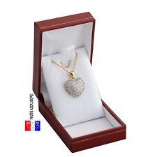 chaine et Pendentif Pour Femme Coeur Brillants En Plaqué Or luxe avec boite neuf