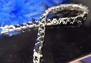 "Vintage Statement Black - Onyx Sterling Silver 0.925 8"" x 1/4"" Tennis Bracelet"