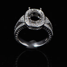 8x10mm Oval Cut Solid 14kt 585 White Gold Semi Mount Natural Diamond Ring