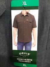 Orvis Men's Woven Tech Shirt short sleeve  button up Stone color X-Large NWT NEW