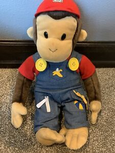 """Gund Curious George Dressed in Learning Blue Overalls Plush 15"""" Stuffed Animal"""