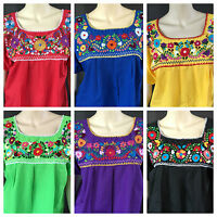 WOMENS PEASANT EMBROIDERED MEXICAN HANDMADE BLOUSE ASSORTED COLORS AND SIZES