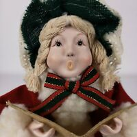 Christmas Carolers 2 Mantle Figurines Bisque Face Hands Tree  Topper Vintage