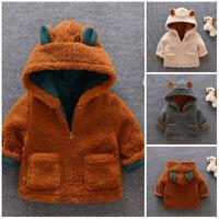1pc baby kids girls boys warm fleece coat jacket fleece hoodie outerwear