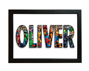 Personalised MARVEL NAME Word Art Print Gift Keepsake Birthday Christmas Present
