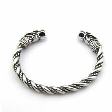 Ring Odin Wolf Heads Pagan Bangles Viking Stainless Steel Bracelet Gold Cuff Arm