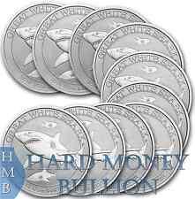 Lot of (10) 2014 Perth Mint 1/2 oz Silver Great White Shark Australia Coins