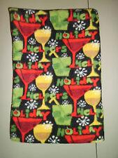1-Cocktails Holiday Helpers Standard Size Fleece Pillowcase Soft, New & Handmade