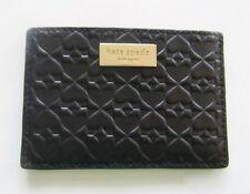 Kate Spade graham penn place embossed card case- black -embossed spades