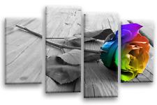 Le Reve Floral Rainbow Rose Canvas Grey Love Flower Split 4 Panel Wall Art Set 1