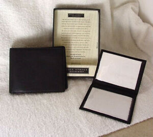 WALL STREET EXCHANGE Mens Black Leather Bifold Wallet Passcase NEW NWT