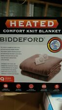 Biddeford QUEEN Size Electric Heated Knit Fleece Blanket Taupe - New In Box