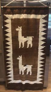 "Vintage Peruvian Llama Alpaca Southwestern Woven Hanging Blanket Area Rug 65"""