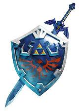 Encadrée Imprimer-hylian zelda bouclier avec épée (Photo Poster Art Jeu Gaming)