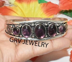 Amethyst Gemstone Adjustable Cuff Bracelet Bangle 925 Silver Plated BG-22