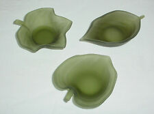 Partylite Natures Garden Green Leaf Tealight Candle Holders Trio (Without Box)