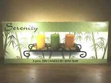 NIB Serenity ZEN *GREAT for SPA~3 Candle Set with Metal Tray & Decorative Rocks