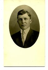 Handsome Young Man-Pin Jewelry on Tie-Studio RPPC-Vintage Real Photo Postcard